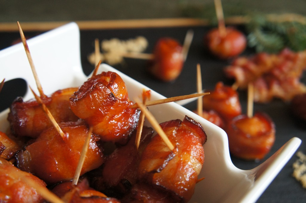 Candied Bacon Wrapped Water Chestnuts