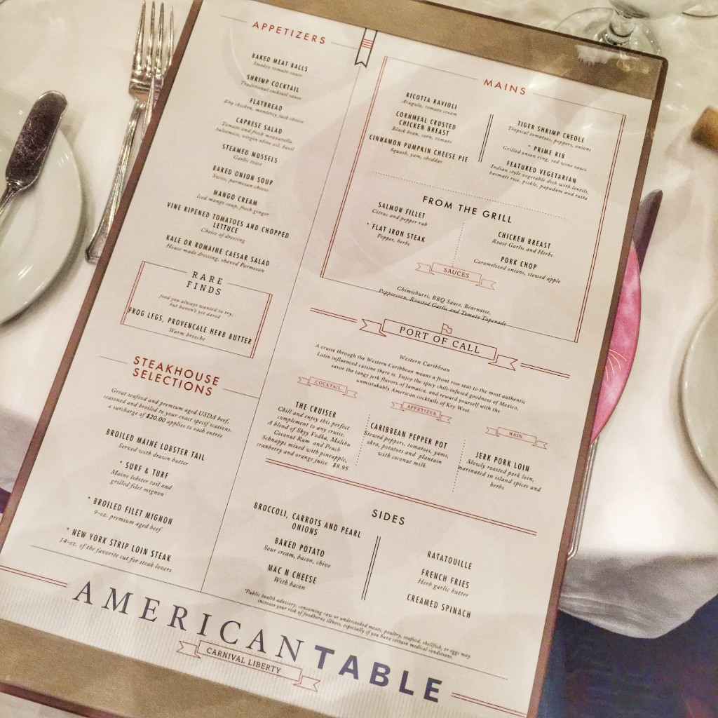 Carnival Cruise Line American Table Menu