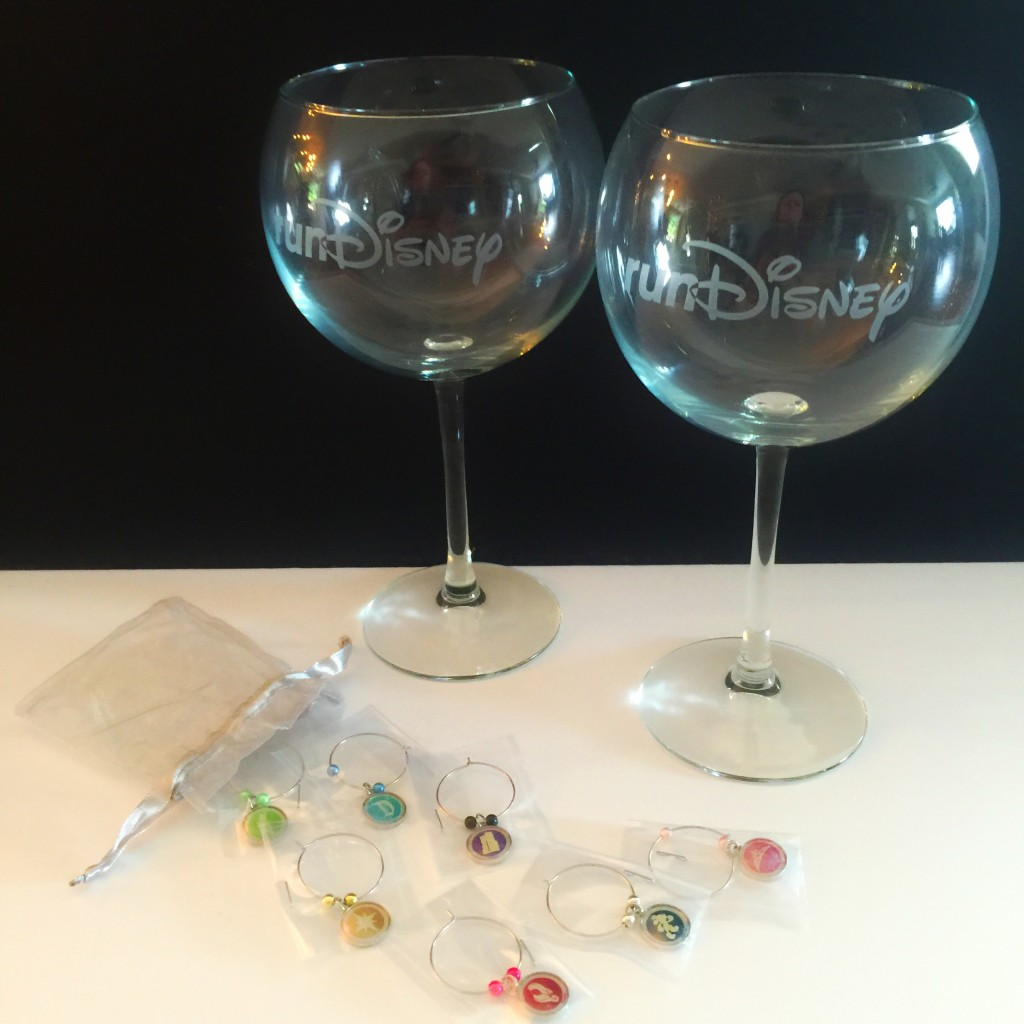 runDisney red wine glasses and race logo charms