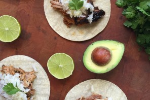 Slow Cooker Coconut Lime Pork Carnitas Tacos with Coconut Jasmine Rice