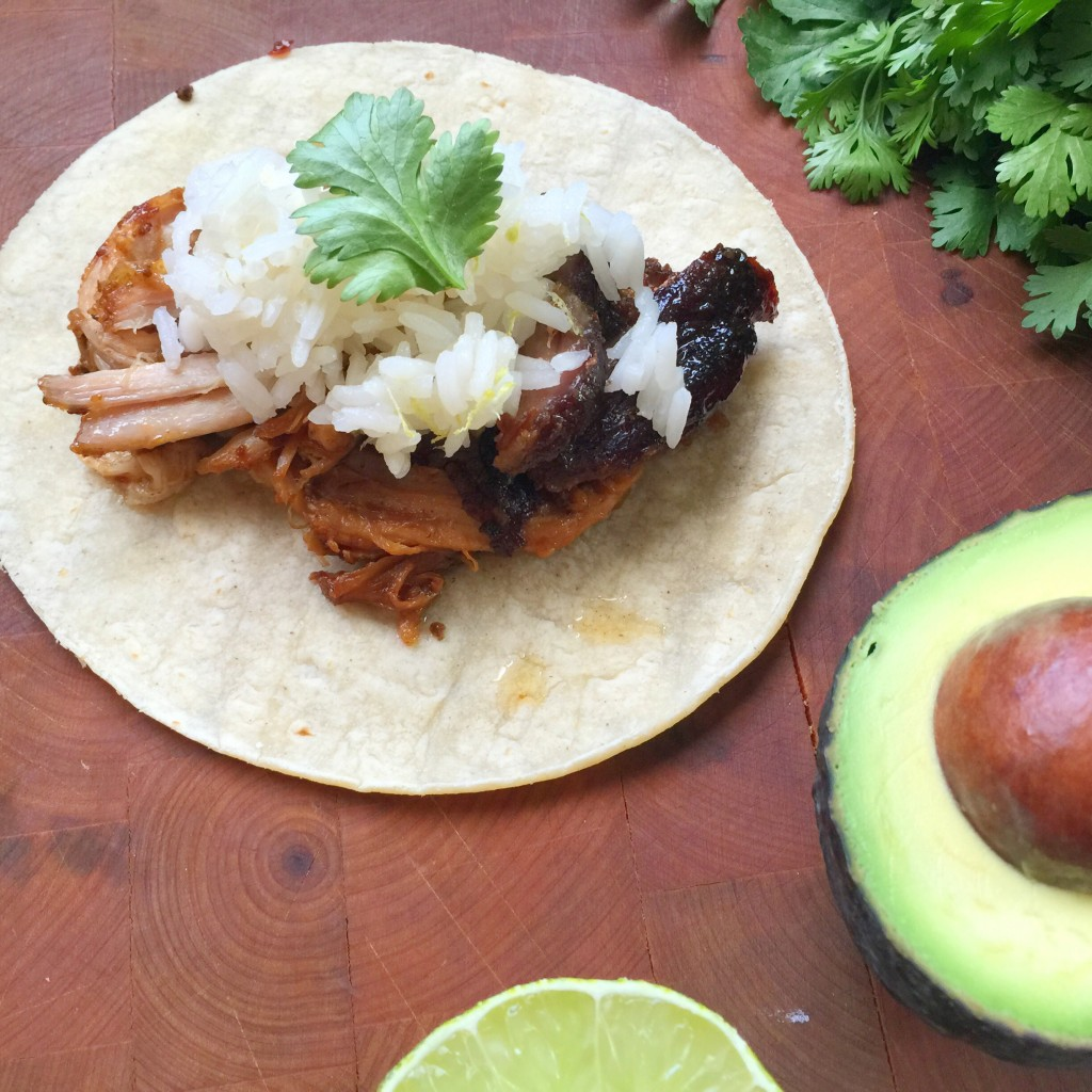 Slow Cooker Coconut Lime Pork Carnitas Tacos with Coconut Jasmine Rice ...