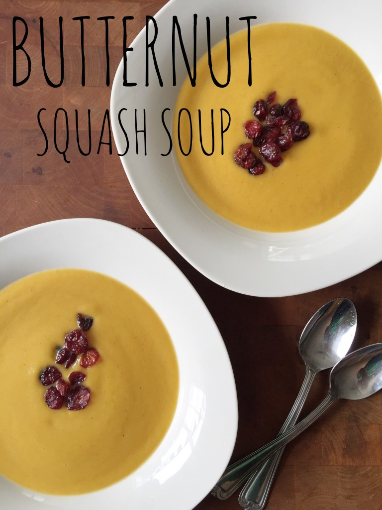 Creamy Butternut Squash Soup with Dried Cranberries