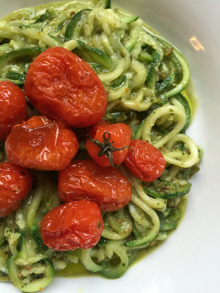 Low Carb Zucchini Noodles with Pistachio Basil Pesto and Blistered Cherry Tomatoes