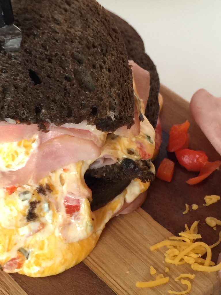 Ooey Gooey Southern Grilled Ham and Pimento Cheese Sandwich