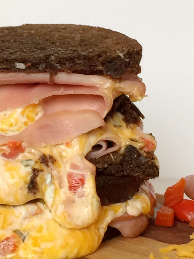 Southern Grilled Ham and Ooey Gooey Pimento Cheese Sandwich