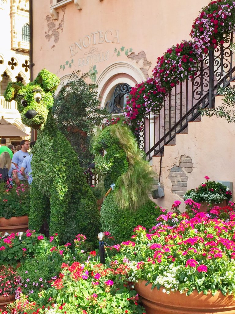 Disney's Epcot International Flower and Garden Festival Lady and the tramp topiaries