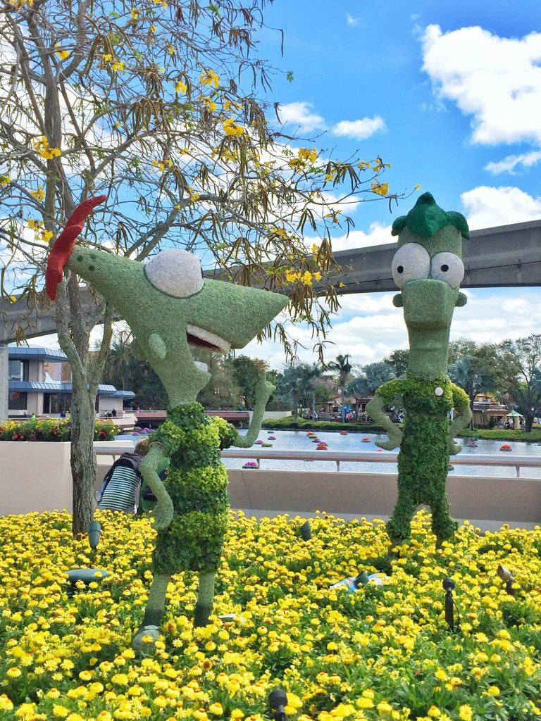 Disney's Epcot International Flower and Garden Festival Phineas and Ferb Topiary