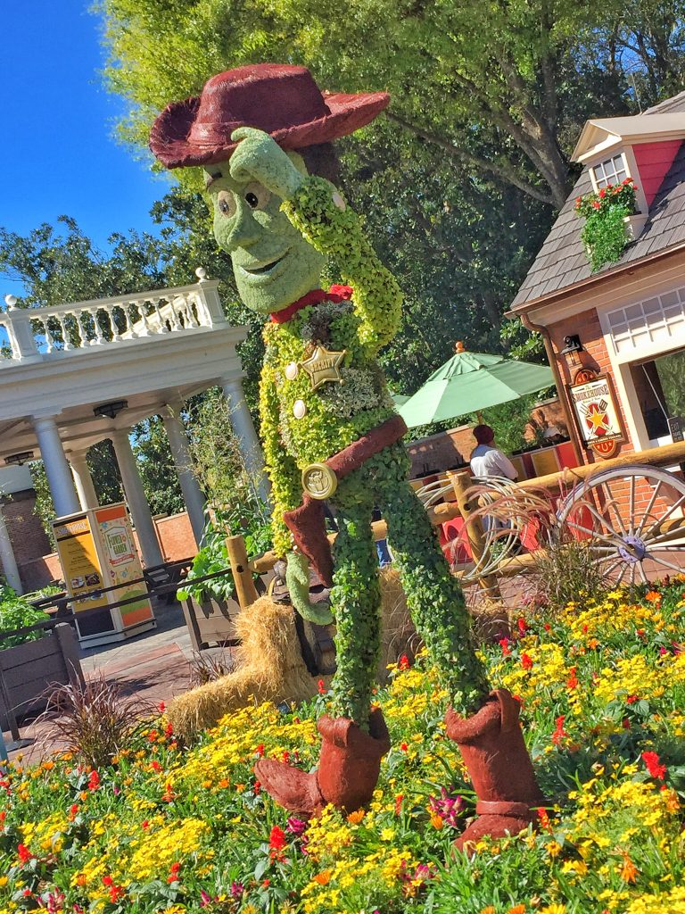 Disney's Epcot International Flower and Garden Festival Sheriff Woody Topiary