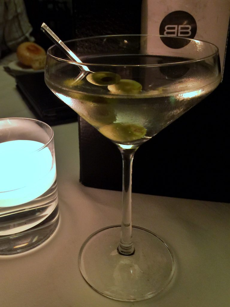 Dirty Martini at the Bull and Bear Steakhouse at the Waldorf Astoria Orlando Resort
