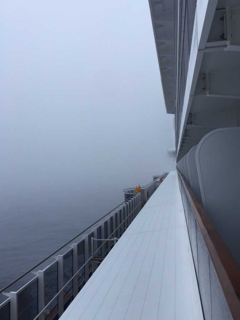 Fog on the Carnival Horizon cruise ship
